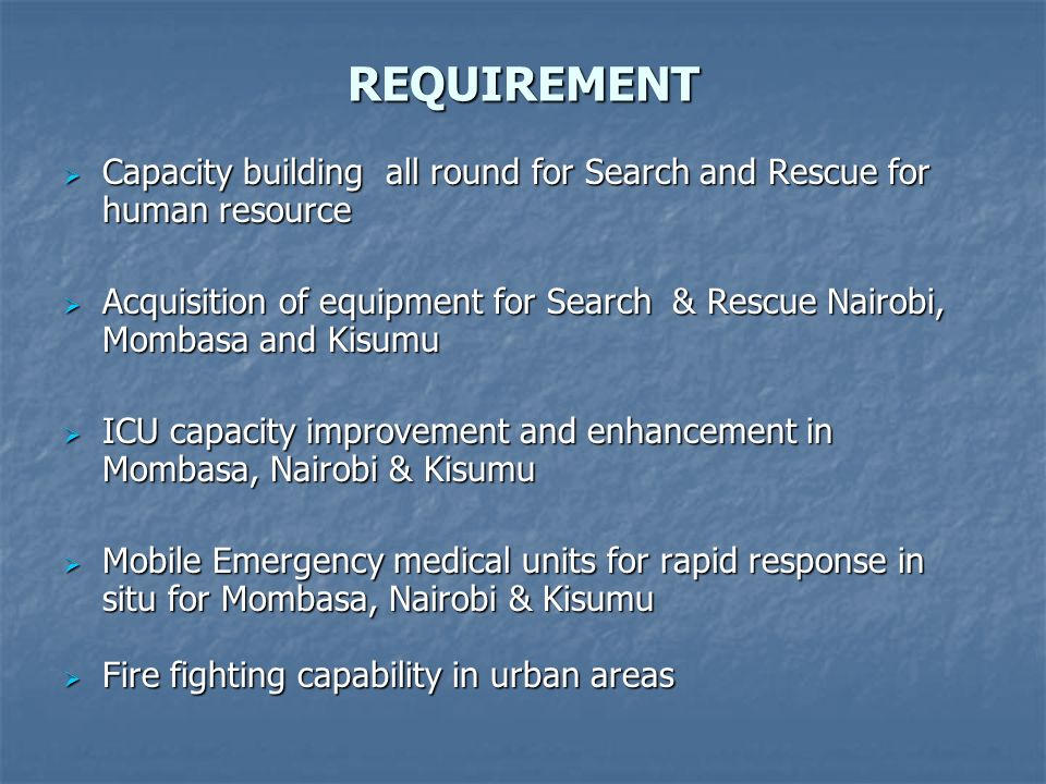 REQUIREMENT Capacity building all round for Search and Rescue for human resource.