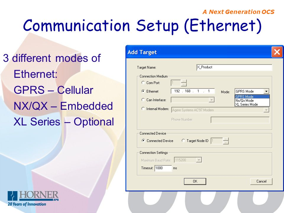 Communication Setup (Ethernet)