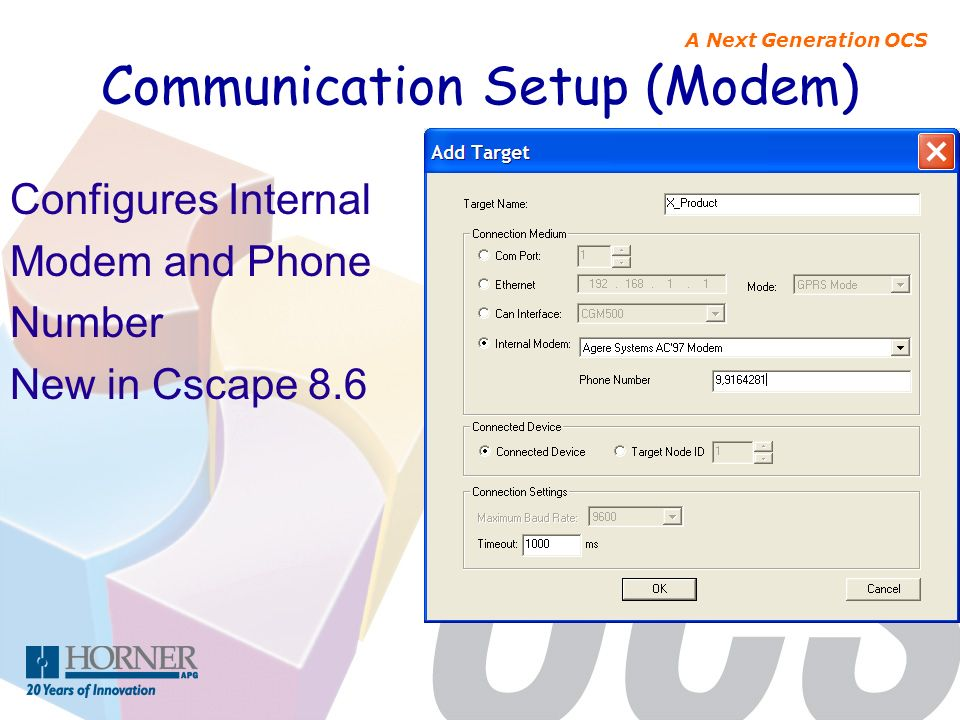 Communication Setup (Modem)