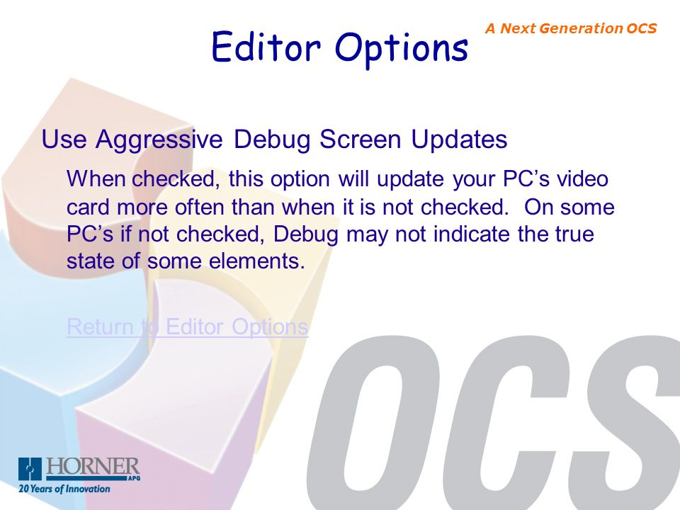 Editor Options Use Aggressive Debug Screen Updates