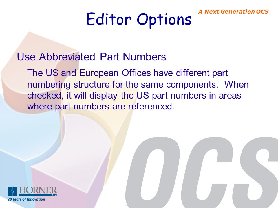 Editor Options Use Abbreviated Part Numbers