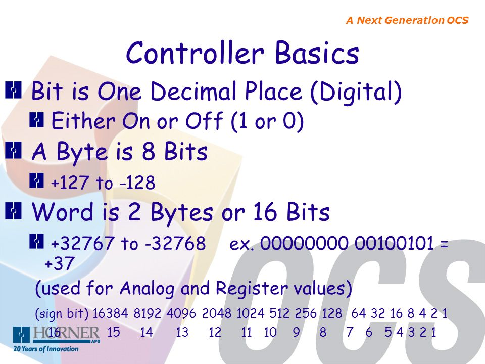Controller Basics Bit is One Decimal Place (Digital) A Byte is 8 Bits