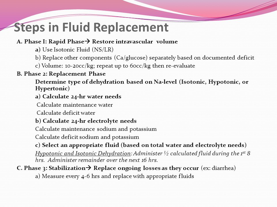 Steps in Fluid Replacement