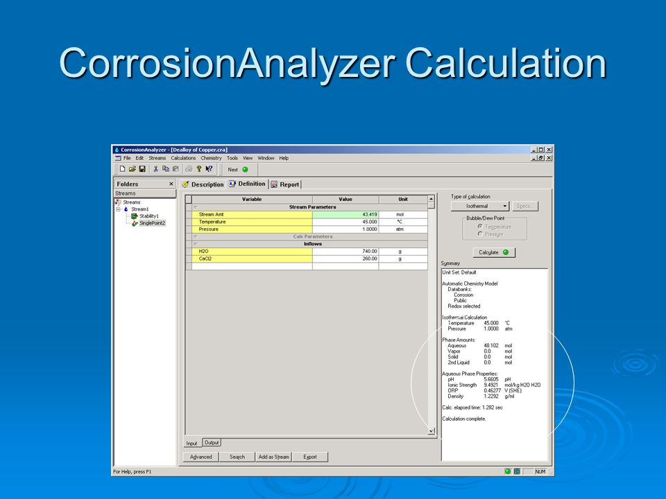 CorrosionAnalyzer Calculation