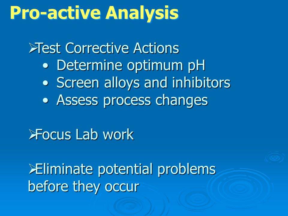 Pro-active Analysis Test Corrective Actions Determine optimum pH