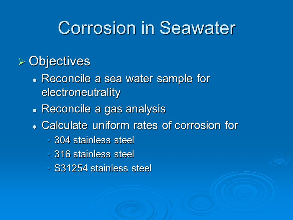 Corrosion in Seawater Objectives