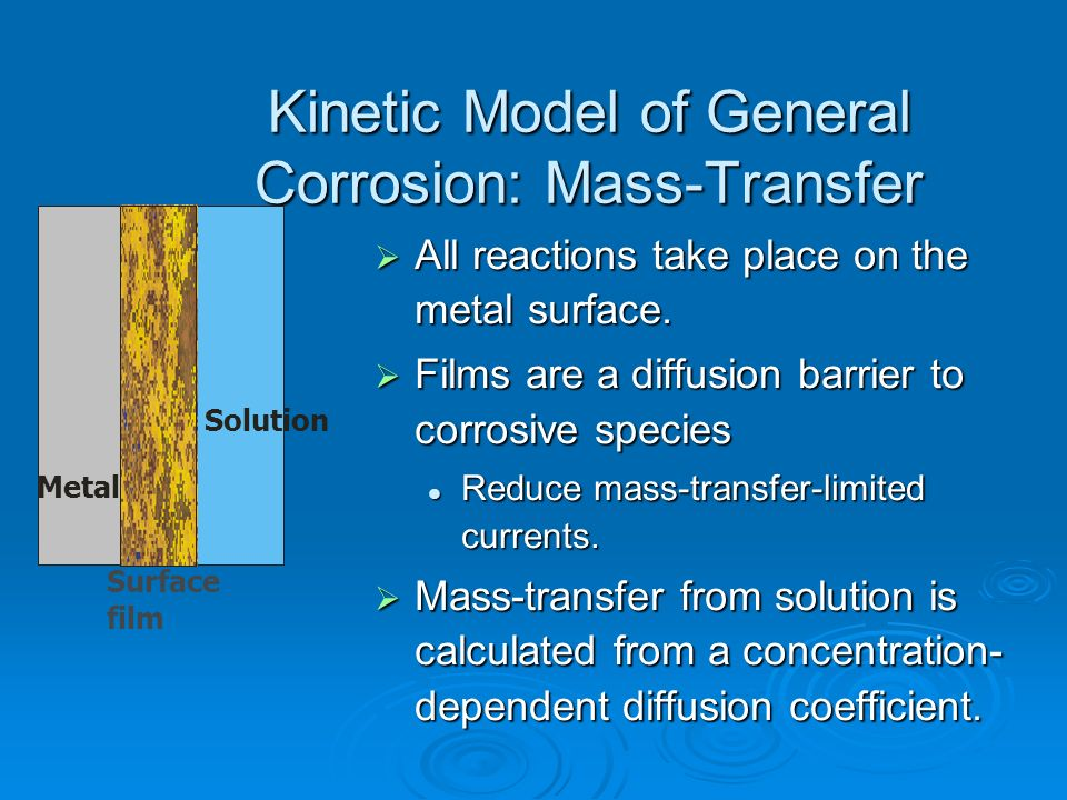 Kinetic Model of General Corrosion: Mass-Transfer