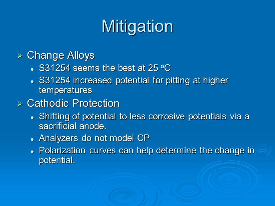 Mitigation Change Alloys Cathodic Protection