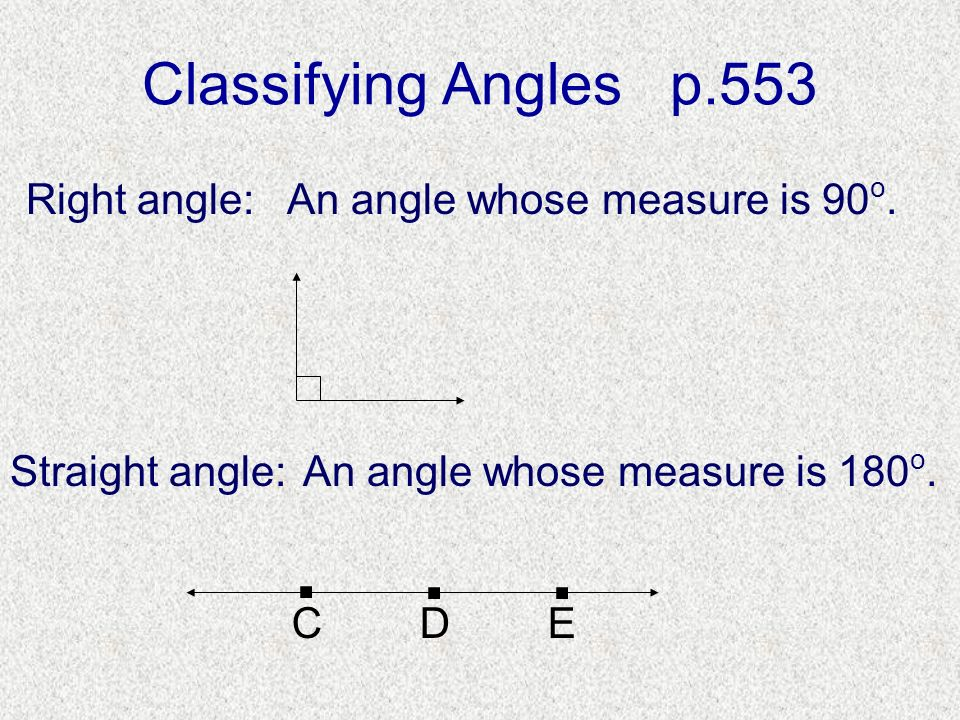 . . . Classifying Angles p.553 Right angle: