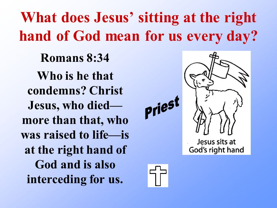 What does Jesus' sitting at the right hand of God mean for us every day