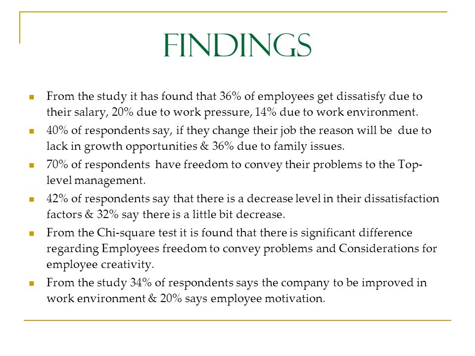 FINDINGS From the study it has found that 36% of employees get dissatisfy due to their salary, 20% due to work pressure, 14% due to work environment.
