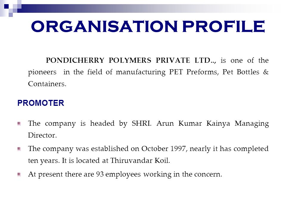 ORGANISATION PROFILE PROMOTER