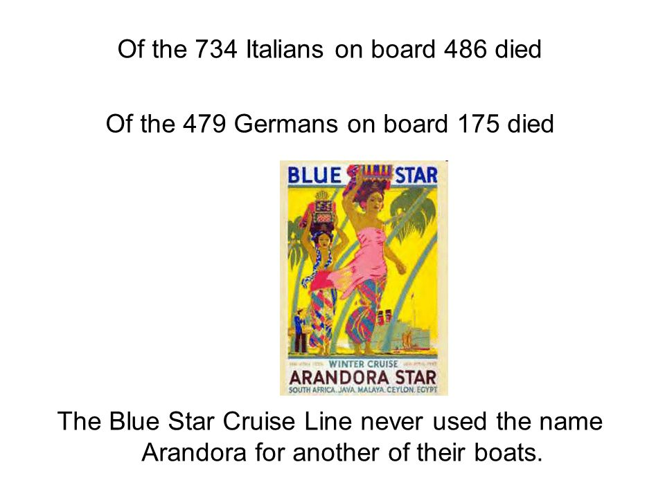 Of the 734 Italians on board 486 died