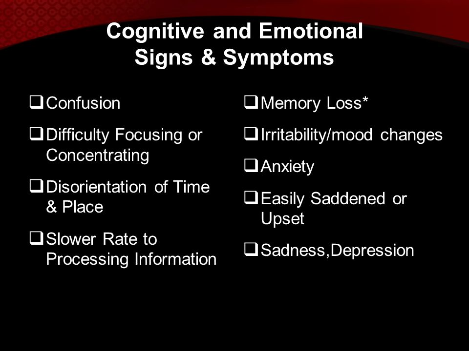 Cognitive and Emotional Signs & Symptoms