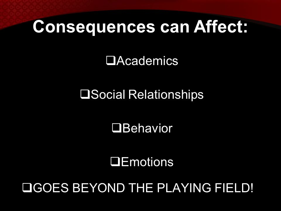 Consequences can Affect: