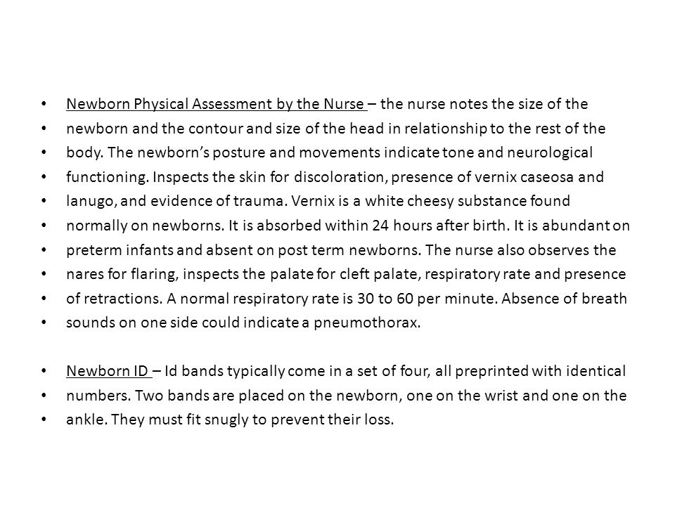 Newborn Physical Assessment by the Nurse – the nurse notes the size of the