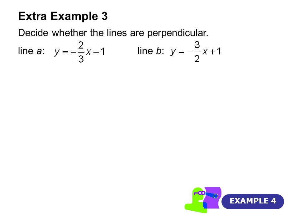 Extra Example 3 Decide whether the lines are perpendicular.