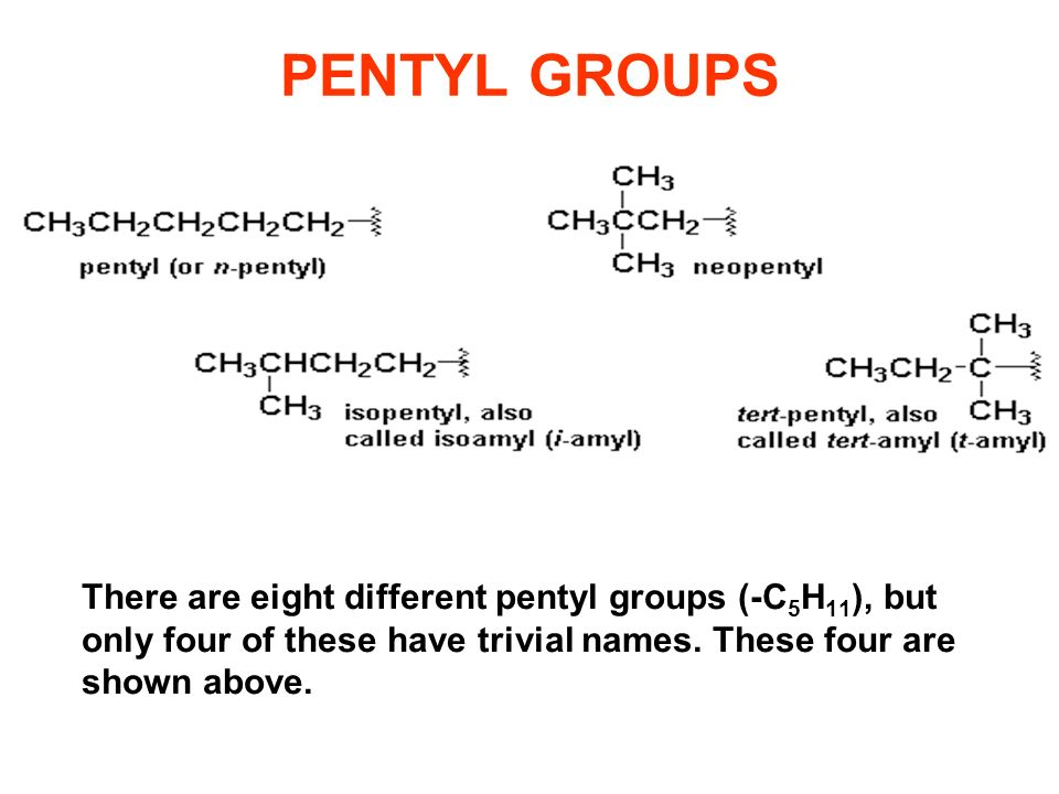 PENTYL GROUPS There are eight different pentyl groups (-C5H11), but only four of these have trivial names.