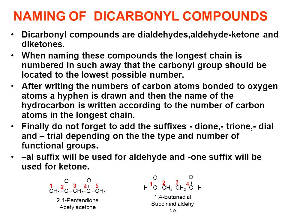 NAMING OF DICARBONYL COMPOUNDS