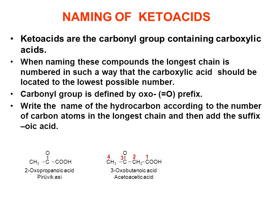 NAMING OF KETOACIDS Ketoacids are the carbonyl group containing carboxylic acids.