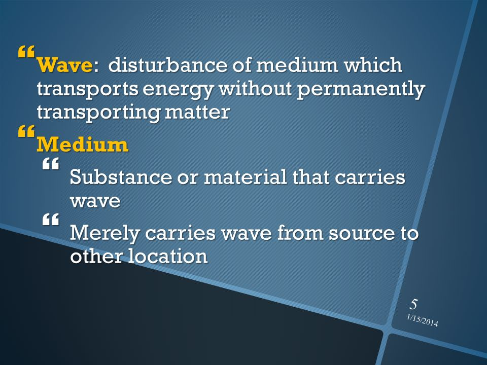 Substance or material that carries wave