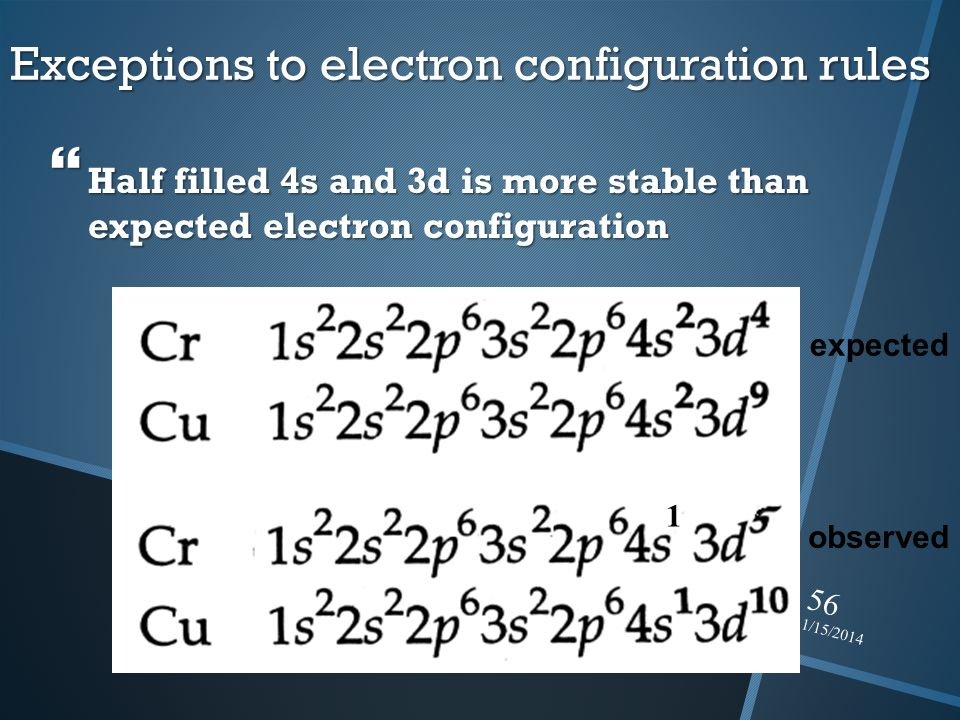 Exceptions to electron configuration rules