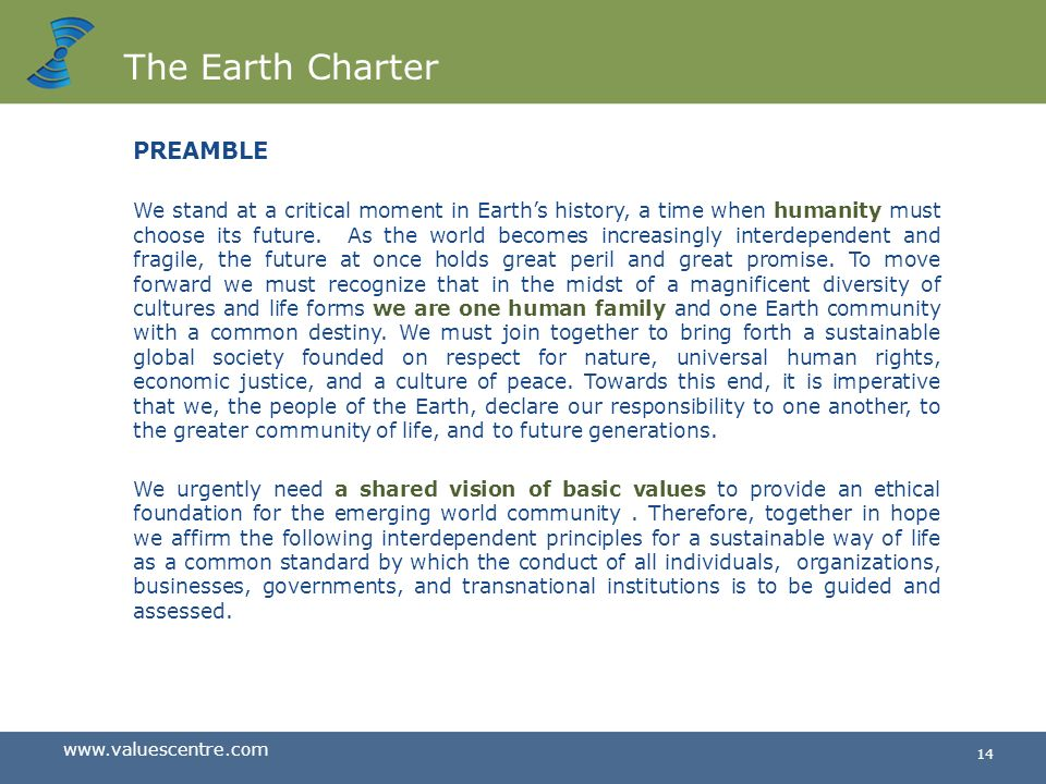 The Earth Charter PREAMBLE