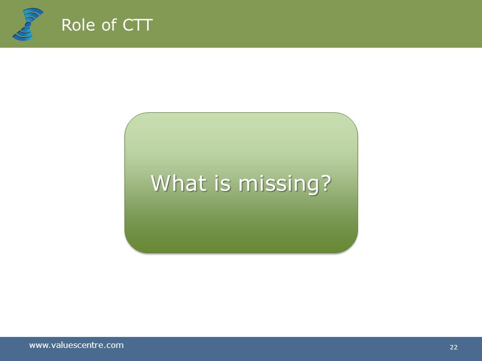 Role of CTT What is missing