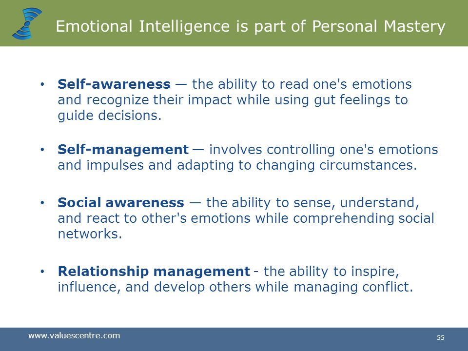 Emotional Intelligence is part of Personal Mastery