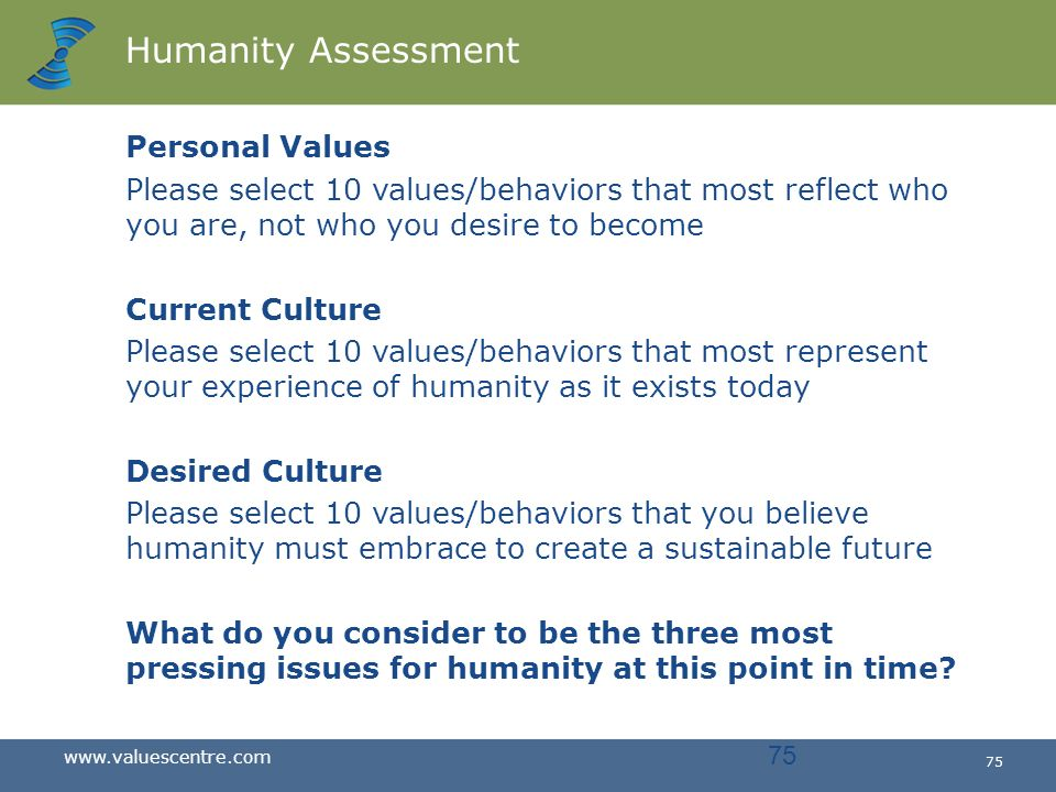 Humanity Assessment Personal Values