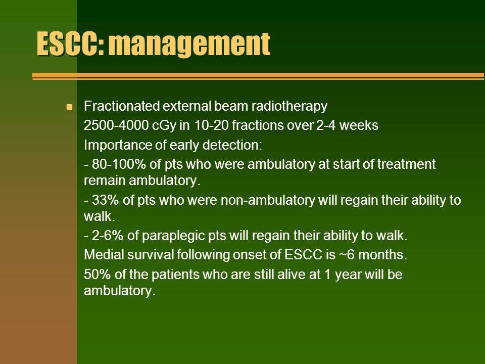 ESCC: management Fractionated external beam radiotherapy