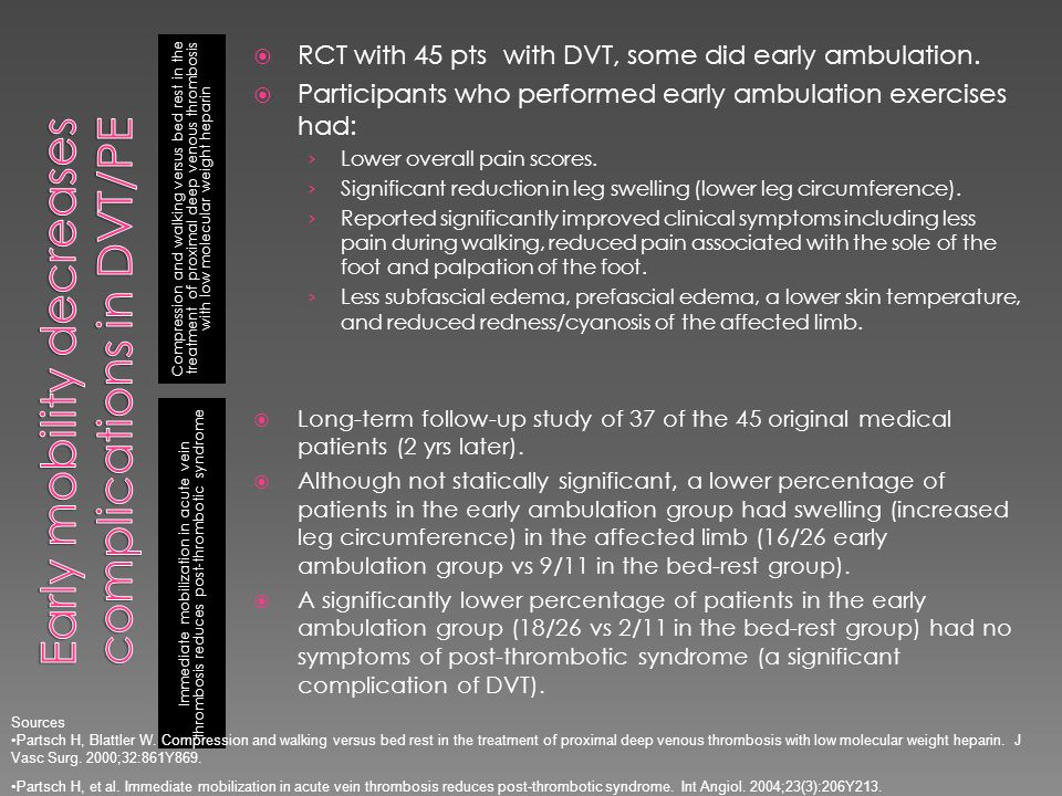 Early mobility decreases complications in DVT/PE
