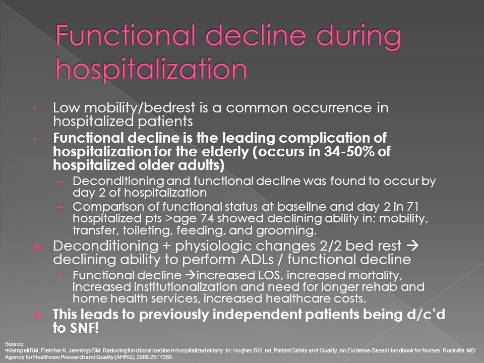 Functional decline during hospitalization