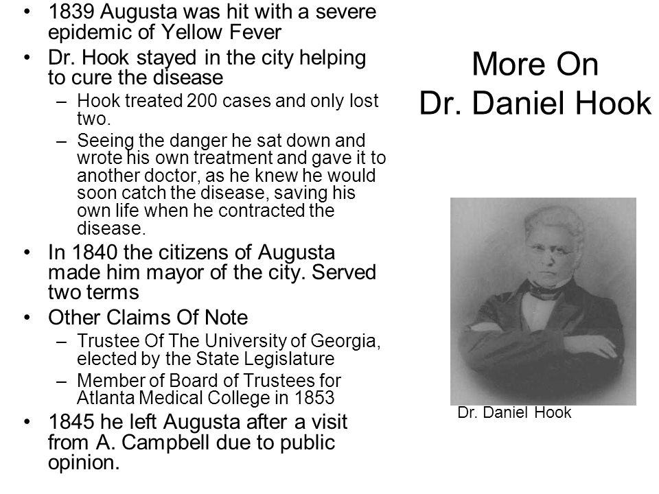 1839 Augusta was hit with a severe epidemic of Yellow Fever