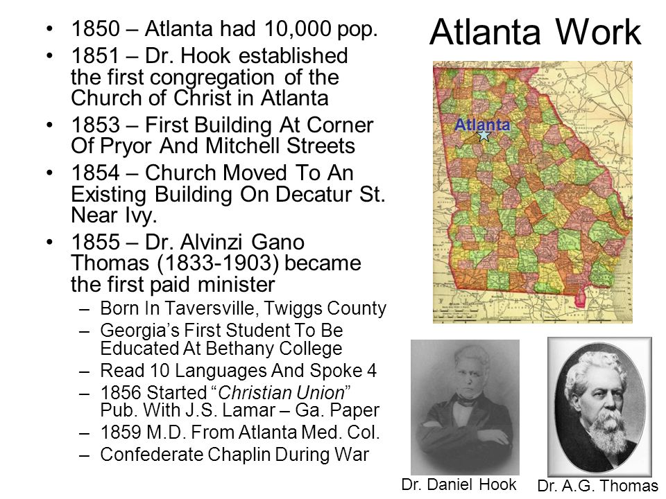 Atlanta Work 1850 – Atlanta had 10,000 pop.