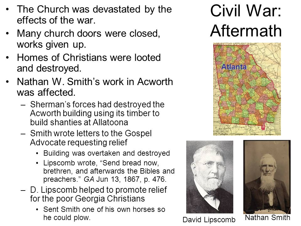 Civil War: Aftermath The Church was devastated by the effects of the war. Many church doors were closed, works given up.