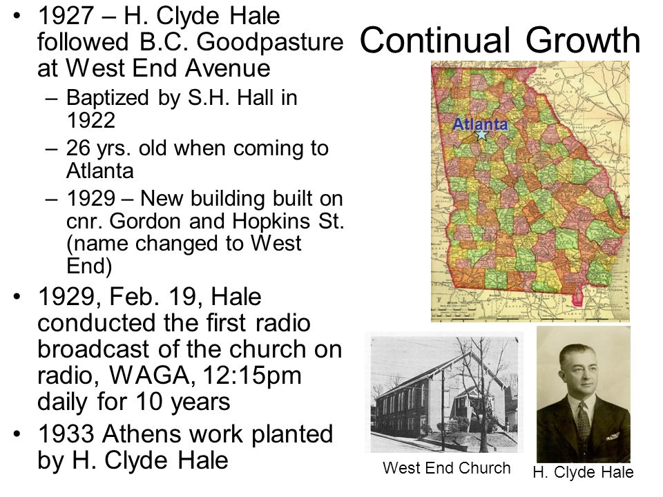 1927 – H. Clyde Hale followed B.C. Goodpasture at West End Avenue