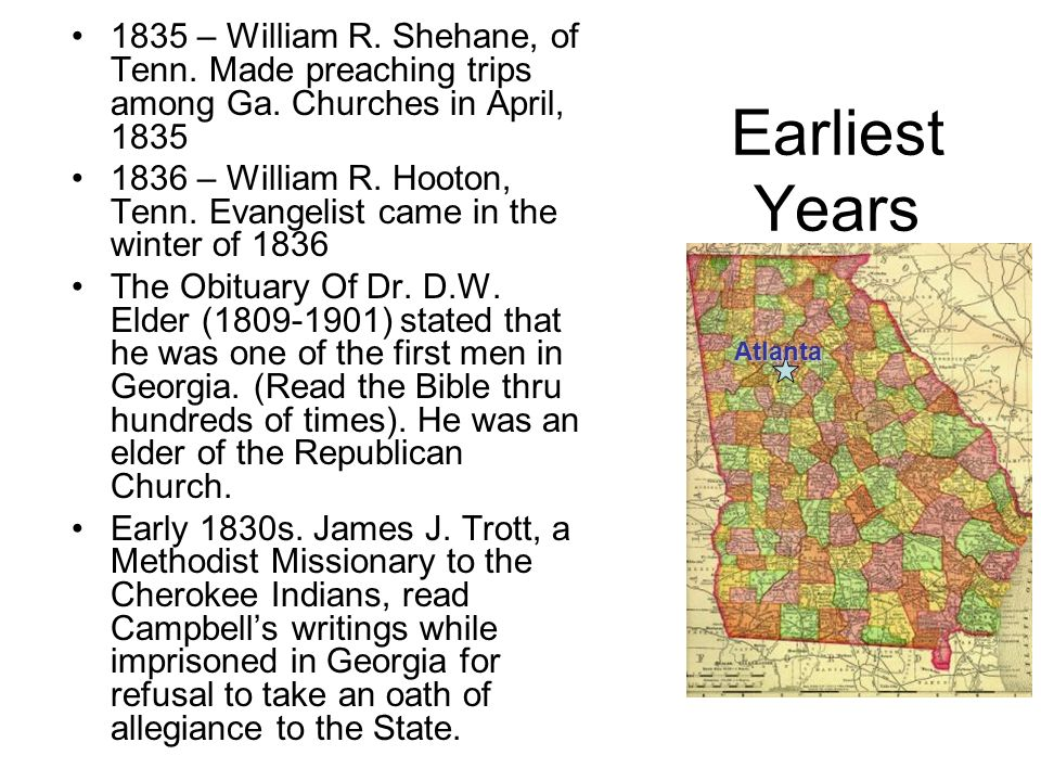 1835 – William R. Shehane, of Tenn. Made preaching trips among Ga