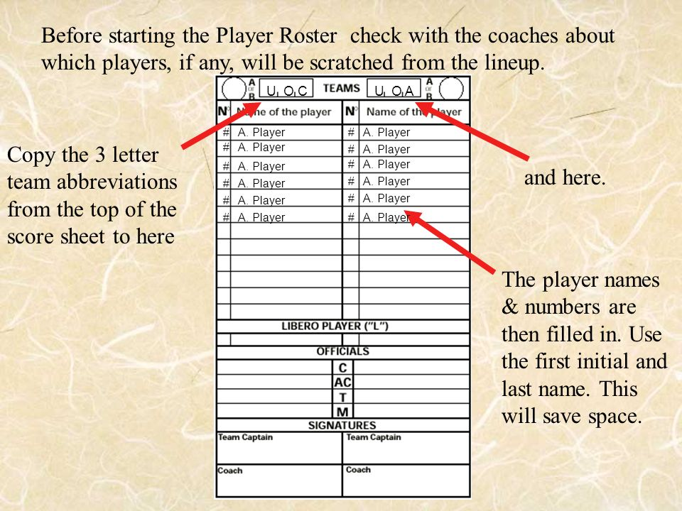 Before starting the Player Roster check with the coaches about which players, if any, will be scratched from the lineup.