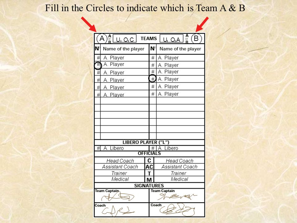 Fill in the Circles to indicate which is Team A & B