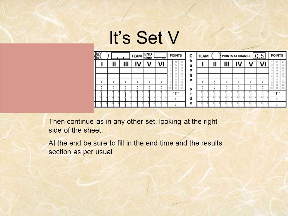 It's Set V 0 8. Then continue as in any other set, looking at the right side of the sheet.
