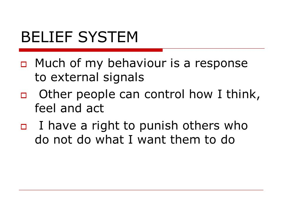BELIEF SYSTEM Much of my behaviour is a response to external signals
