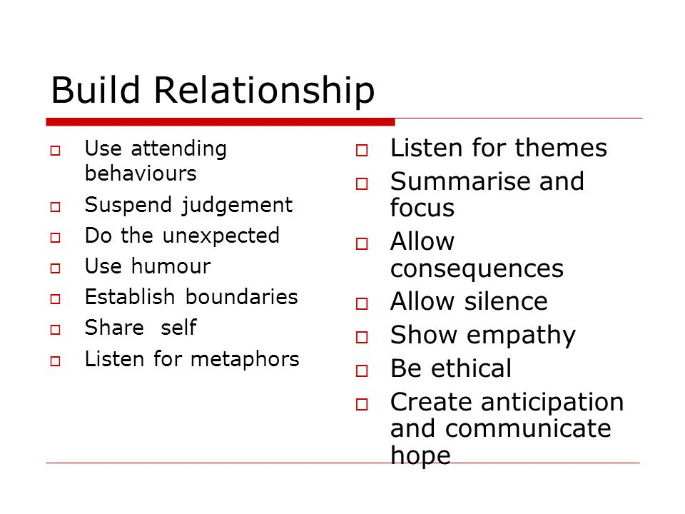 Build Relationship Listen for themes Summarise and focus