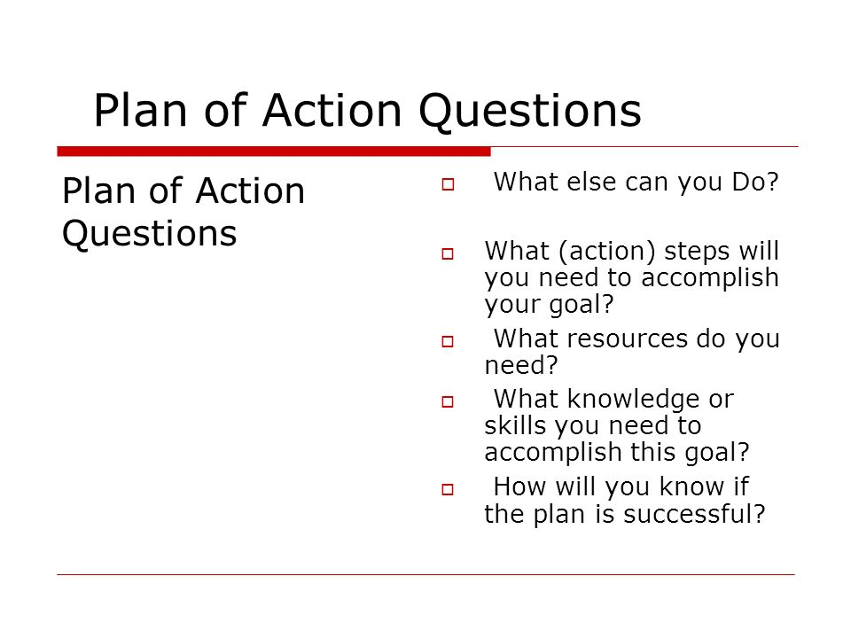 Plan of Action Questions