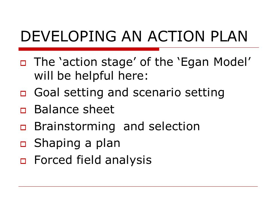 DEVELOPING AN ACTION PLAN