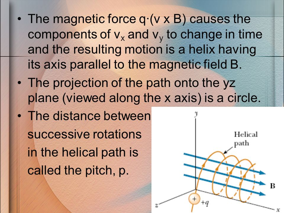The magnetic force q·(v x B) causes the components of vx and vy to change in time and the resulting motion is a helix having its axis parallel to the magnetic field B.