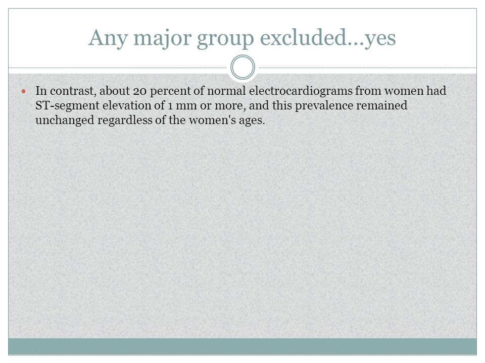 Any major group excluded…yes