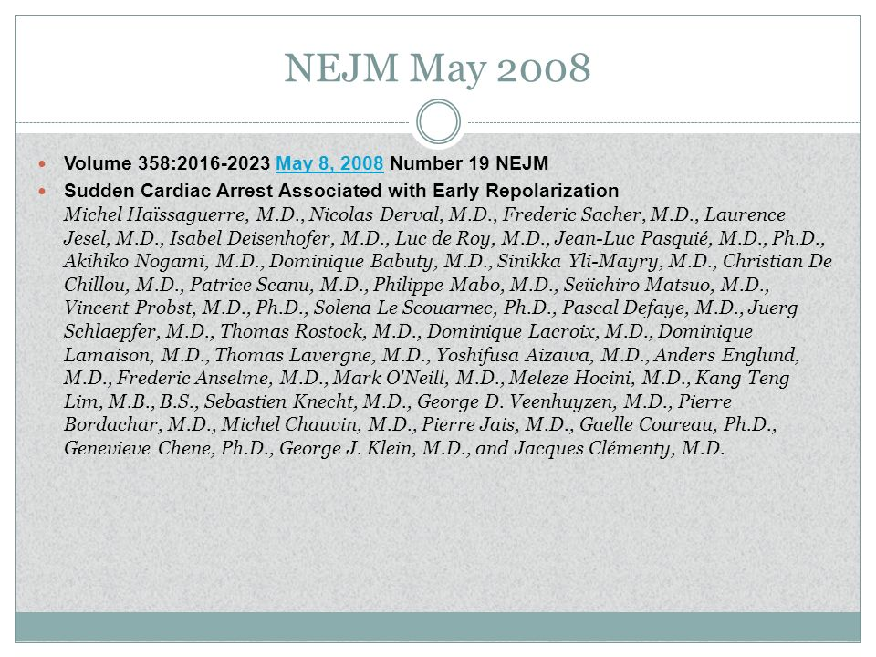 NEJM May 2008 Volume 358: May 8, 2008 Number 19 NEJM