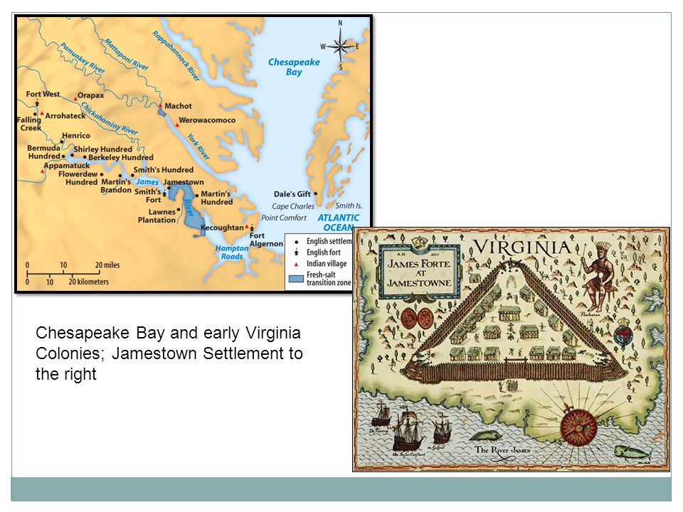 Chesapeake Bay and early Virginia Colonies; Jamestown Settlement to the right