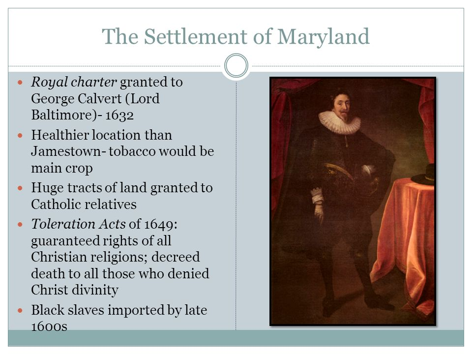 The Settlement of Maryland